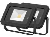 2x Projecteur LED 20W 1.600lm noir avec détecteur de mouvement intégré AdLuminis