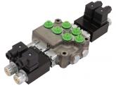 Hydrauliksteuergerät HYDRO CONTROL Elektromagnetisches Monoblocksteuergerät M45 mit Druckweiterführung, Federrückstellung und Überdruckventil, 2 x doppeltwirkend 12 Volt