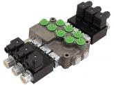 Hydrauliksteuergerät HYDRO CONTROL Elektromagnetisches Monoblocksteuergerät M45 mit Druckweiterführung, Federrückstellung und Überdruckventil, 3 x doppeltwirkend 12 Volt