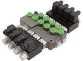 Hydrauliksteuergerät HYDRO CONTROL Elektromagnetisches Monoblocksteuergerät M45 mit Druckweiterführung, Federrückstellung und Überdruckventil, 4 x doppeltwirkend 12 Volt