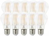 10x AdLuminis LED Bulb klar E27 7W 806 Lumen 2.700K