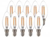 10x AdLuminis LED Candle klar E14 4,5W 470 Lumen 2.700K