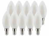 10x AdLuminis LED Candle matt E14 4,5W 470 Lumen 2.700K