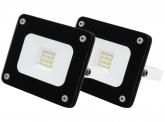 2x AdLuminis SMD LED Fluter 10W 900 Lumen schwarz Glas-Design