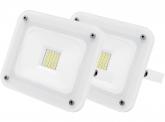2x AdLuminis SMD LED Fluter 20W 1.800 Lumen weiß Glas-Design