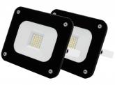 2x AdLuminis SMD LED Fluter 20W 1.800 Lumen schwarz Glas-Design