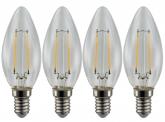 4x AdLuminis LED-Filament Candle C35 klar E14 2W