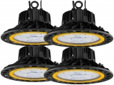 4x Cloche LED UFO high bay 100W 14.500lm dimmable suspension industrielle AdLuminis