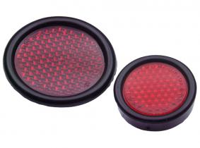 Rückstrahler rot mit Kunststoffeinfassung rund 75mm Rückstrahler rot mit Kunststoffeinfassung rund 75mm