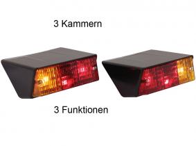 OLDTIMER Brems-Blink-Schluss-Leuchte für Schräganbau hinten rechts und links mit Kennzeichen-Leuchte im Satz OLDTIMER Brems-Blink-Schluss-Leuchte für Schräganbau hinten rechts und links mit Kennzeichen-Leuchte im Satz