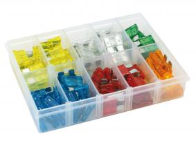 KFZ Flachstecksicherungen (ATS) Sortiment im Kunststoffkasten 100-tlg. KFZ Flachstecksicherungen (ATS) Sortiment im Kunststoffkasten 100-tlg.