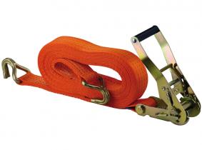 Sangle d'arrimage à cliquet et crochet 8 m 4.000 kg EN 12195-2, certifiée TÜV, GS Sangle d'arrimage à cliquet et crochet 8 m 4.000 kg EN 12195-2, certifiée TÜV, GS