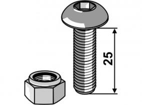 Flachrundschraube mit Innensechskant 10.9 M8x1,25x25 mit Mutter Flachrundschraube mit Innensechskant 10.9 M8x1,25x25 mit Mutter