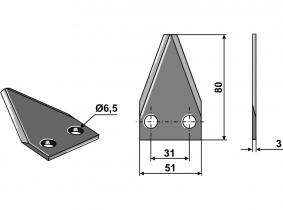 Futtermischwagenmesser passend zu Luclar 50g 3mm Futtermischwagenmesser passend zu Luclar 50g 3mm