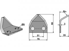Futtermischwagenmesser passend zu Marmix 60° 89g 3mm Futtermischwagenmesser passend zu Marmix 60° 89g 3mm