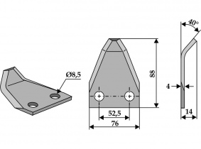 Futtermischwagenmesser passend zu Duks 40° 160g 4mm Futtermischwagenmesser passend zu Duks 40° 160g 4mm