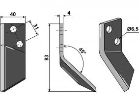 Futtermischwagenmesser rechts passend zu DeLaval 110g 4mm Orig.Nr. 94832601 Futtermischwagenmesser rechts passend zu DeLaval 110g 4mm Orig.Nr. 94832601