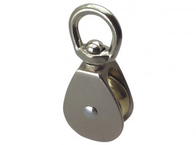 Wirbel-Blockrolle vernickelt 30mm, für 6mm Seil Wirbel-Blockrolle vernickelt 30mm, für 6mm Seil