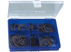 DIN 471-Außensicherungsringe Sortiment im Kunststoffkasten, 100-tlg. DIN 471-Außensicherungsringe Sortiment im Kunststoffkasten, 100-tlg.