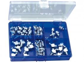 DIN 71412 Schmiernippel Sortiment im Kunststoffkasten, 70-tlg. DIN 71412 Schmiernippel Sortiment im Kunststoffkasten 70-tlg.