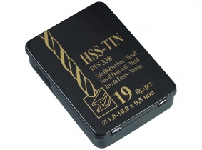 HSS-TIN DIN 338 Metallkassette 19tlg. 1,0-10,0 x 0,5mm HSS-TIN DIN 338 Metallkassette 19tlg. 1,0-10,0 x 0,5mm