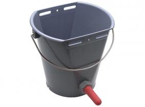 Kälbertränkeeimer aus Kunststoff mit rotem Sauger Kälbertränkeeimer aus Kunststoff mit rotem Sauger
