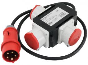 CEE-3-fach Stromverteiler 400V/16A/5-polig, 1,5m-Kabel, IP 44 CEE-3-fach Stromverteiler 400V/16A/5-polig, 1,5m-Kabel, IP 44