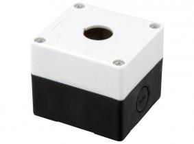 Schaltergehäuse aus Kunststoff 1 Bohrung (22mm), LxBxH 77x72x62mm Schaltergehäuse aus Kunststoff 1 Bohrung (22mm), LxBxH 77x72x62mm