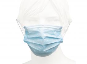 Einweg Gesichtsschutzmaske ISO 13485 blau weiß Karton mit 50 Stück Einweg Gesichtsschutzmaske ISO 13485 blau weiß Karton mit 50 Stück