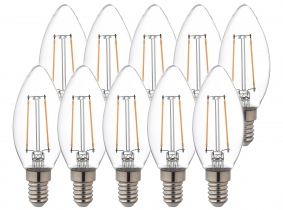 10x AdLuminis LED Candle klar E14 2,5W 250 Lumen 2.700K 10x AdLuminis LED Candle klar E14 2,5W 250 Lumen 2.700K